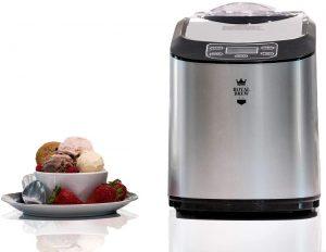 Royal Brew Ice Cream Maker 1.5 Quart Upright Stainless Steel Frozen Yogurt Machine with Built-In Compressor